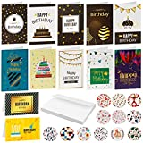 Dongpong Birthday Cards Assortment 12 Unique Designs Assorted Birthday Greeting Card Blank Inside Happy Birthday Card With 12 Envelopes and Stickers for Women Men
